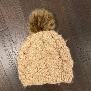 Look Cream Hat/Beanie with Brown Pom Pom
